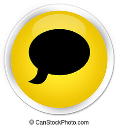 Chat icon premium yellow round button