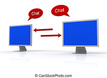 Chat icon reflected on glossy blue square button