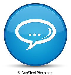 Chat icon special cyan blue round button
