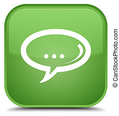 Chat icon special soft green square button