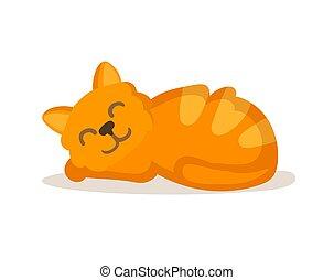 chat, illustration, isolé, mignon, dormir, vecteur, rouges, arrière-plan., dessin animé, character., rigolote, plat, blanc