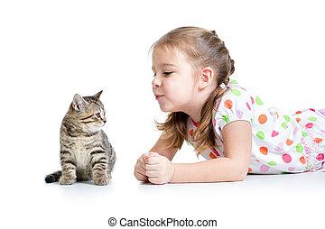 chat, jouer, gosse, chaton