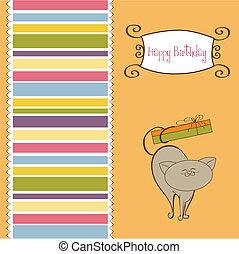 chat, joyeux anniversaire, carte