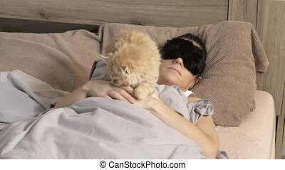 chat, lit, femme, dormir