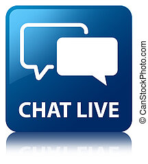 Chat live blue square button