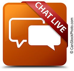 Chat live brown square button red ribbon in corner