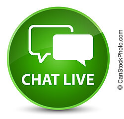 Chat live elegant green round button