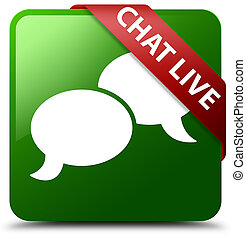 Chat live green square button red ribbon in corner