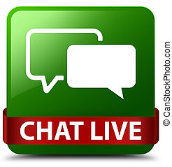 Chat live green square button red ribbon in middle