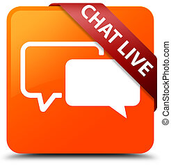Chat live orange square button red ribbon in corner