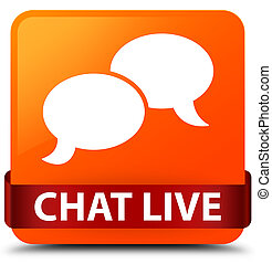 Chat live orange square button red ribbon in middle