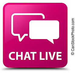 Chat live pink square button