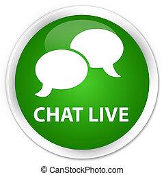 Chat live premium green round button