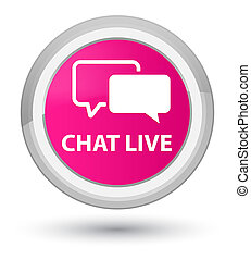 Chat live prime pink round button
