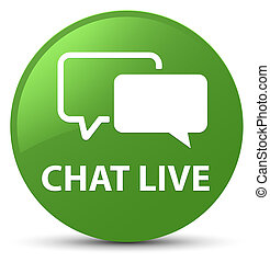 Chat live soft green round button