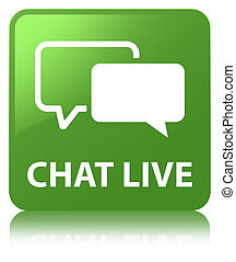 Chat live soft green square button