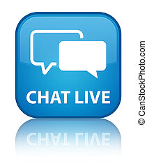 Chat live special cyan blue square button
