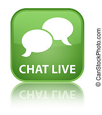 Chat live special soft green square button