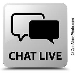 Chat live white square button
