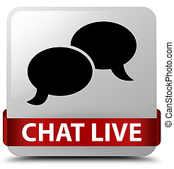 Chat live white square button red ribbon in middle