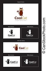 chat, logo, frais, conception