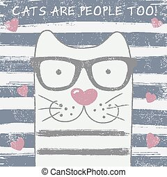 chat, lunettes, mignon