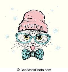 chat, lunettes, mode, chapeau, portrait, grand, hipster