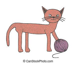 chat, main, dessiné