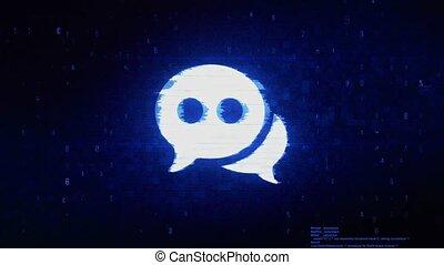 Chat Message Bubble, Talk Symbol Digital Pixel Noise Error...