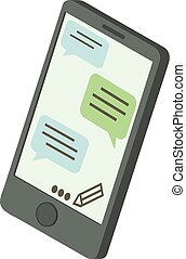 Chat message phone icon, isometric 3d style