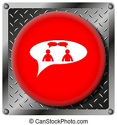 chat metallic icon - men in bubble