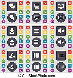 Chat, Monitor, Avatar, Apps, Sound, Campfire, Map, Equalizer icon symbol. A large set of flat, colored buttons for your design. Vector