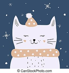 chat, neige, carte, noël, vecteur, apprécier, blanc