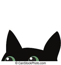 chat, noir, dissimulation