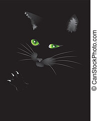 chat, noir, figure