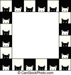 chat noir, fond blanc, échecs abordent, frontière
