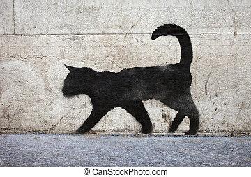 chat noir, graffiti
