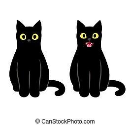 chat noir, séance, illustration