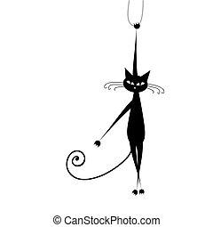 chat, noir, ton, conception, rigolote