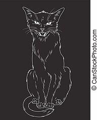 chat noir, vecteur, illustration