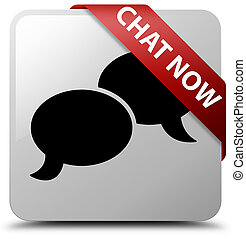 Chat now white square button red ribbon in corner