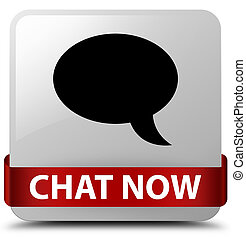Chat now white square button red ribbon in middle