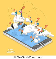 Chat online isometric flat vector concept