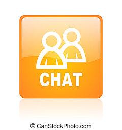 chat orange square glossy web icon