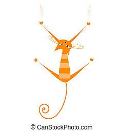 chat, orange, ton, rayé, conception, rigolote