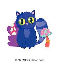 chat, pays merveilles, caractère, dessin animé, champignon