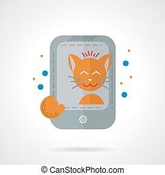 chat, photo prenant, plat, couleur, vecteur, icône