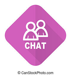chat pink flat icon