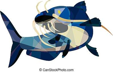 chat, poisson-chat, haut, bas, polygone, boue, regarder