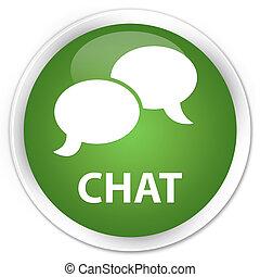 Chat premium soft green round button